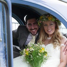Well Sprung Car Hire Company, newlyweds in car